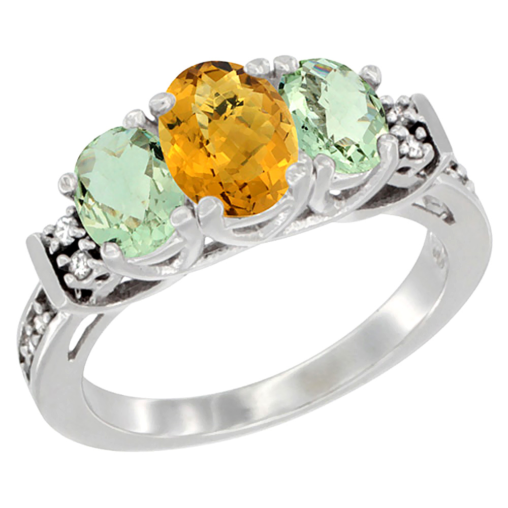 14K White Gold Natural Whisky Quartz & Green Amethyst Ring 3-Stone Oval Diamond Accent, sizes 5-10