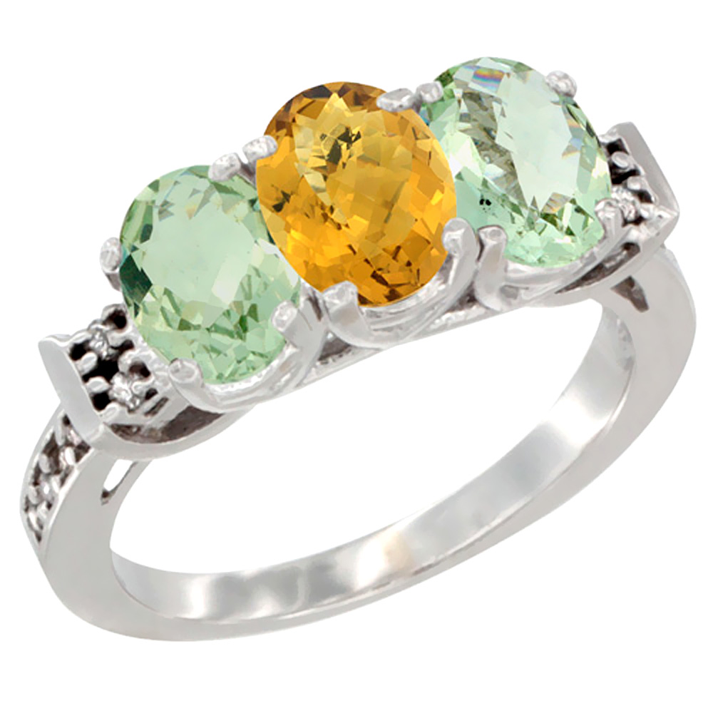 14K White Gold Natural Whisky Quartz & Green Amethyst Sides Ring 3-Stone 7x5 mm Oval Diamond Accent, sizes 5 - 10
