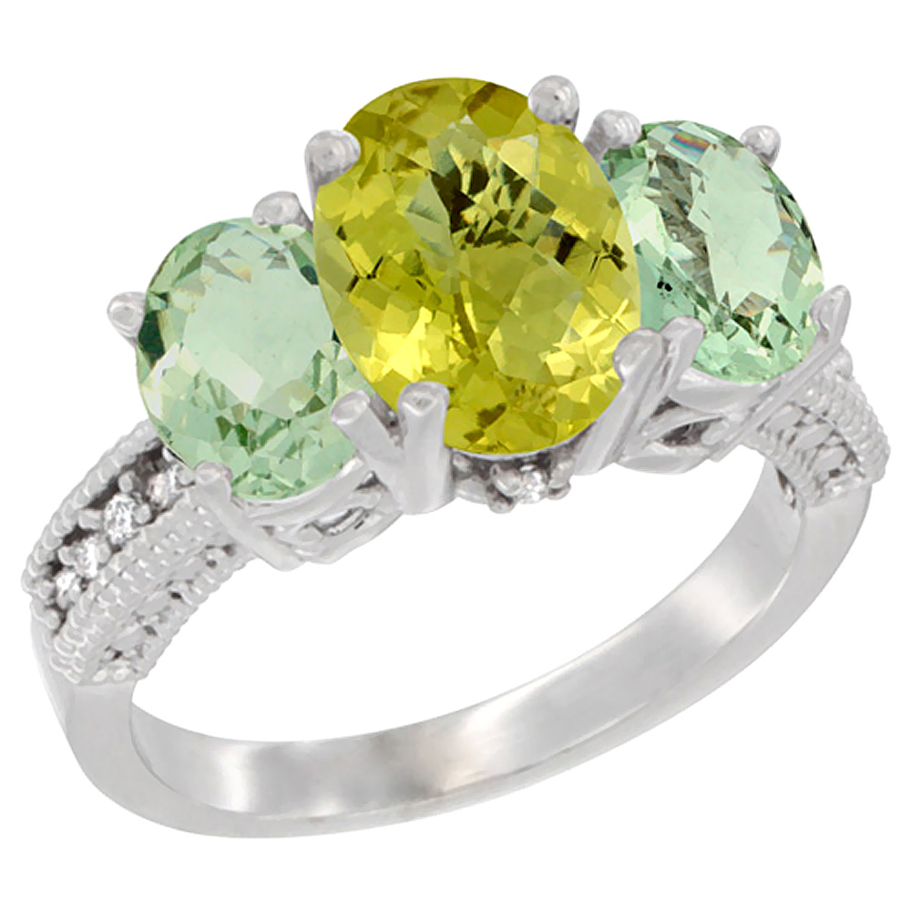14K White Gold Diamond Natural Lemon Quartz Ring 3-Stone Oval 8x6mm with Green Amethyst, sizes5-10