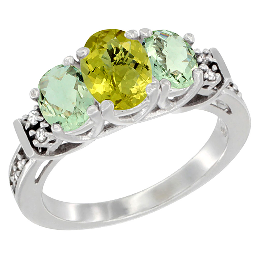 10K White Gold Natural Lemon Quartz & Green Amethyst Ring 3-Stone Oval Diamond Accent, sizes 5-10