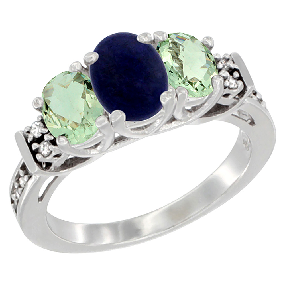 10K White Gold Natural Lapis & Green Amethyst Ring 3-Stone Oval Diamond Accent, sizes 5-10
