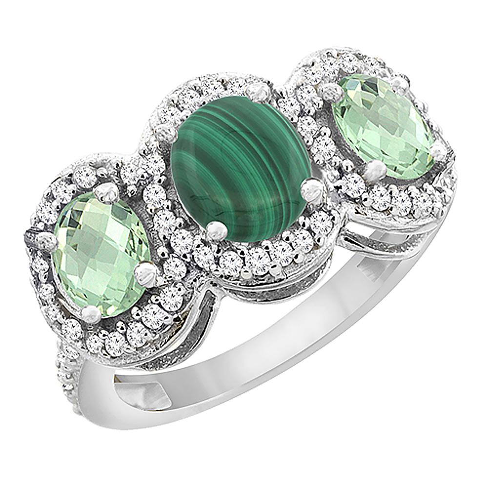 14K White Gold Natural Malachite & Green Amethyst 3-Stone Ring Oval Diamond Accent, sizes 5 - 10