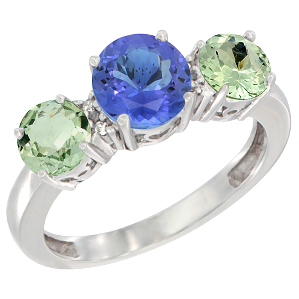 14K White Gold Round 3-Stone Natural Tanzanite Ring & Green Amethyst Sides Diamond Accent, sizes 5 - 10