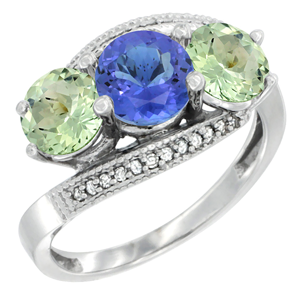 10K White Gold Natural Tanzanite & Green Amethyst Sides 3 stone Ring Round 6mm Diamond Accent, sizes 5 - 10