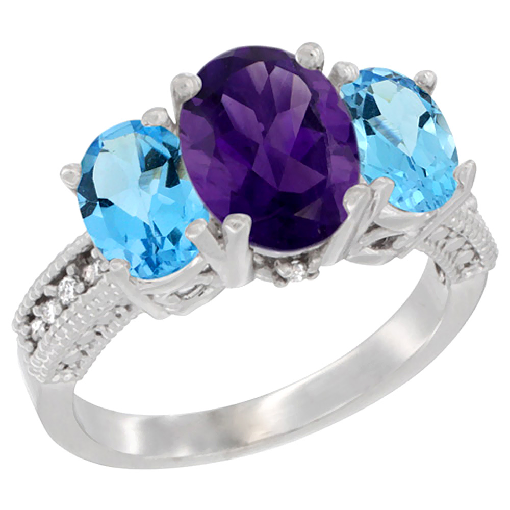 10K White Gold Diamond Natural Amethyst Ring 3-Stone Oval 8x6mm with Swiss Blue Topaz, sizes5-10