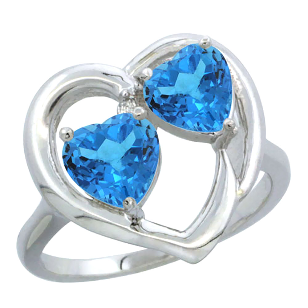 14K White Gold Diamond Two-stone Heart Ring 6mm Natural Swiss Blue Topaz, sizes 5-10