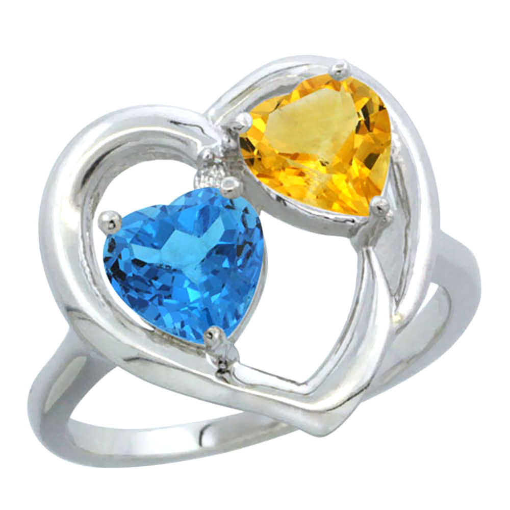14K White Gold Diamond Two-stone Heart Ring 6mm Natural Swiss Blue Topaz & Citrine, sizes 5-10