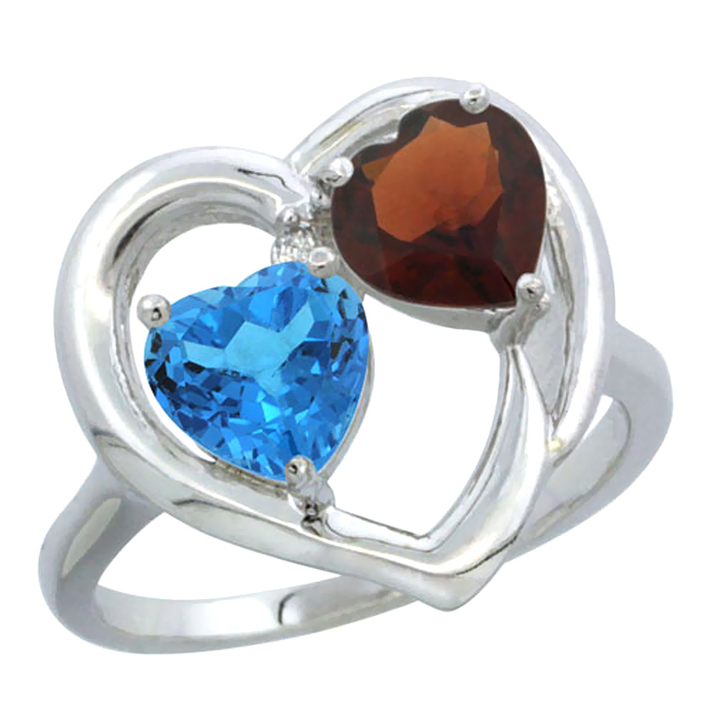 14K White Gold Diamond Two-stone Heart Ring 6mm Natural Swiss Blue Topaz & Garnet, sizes 5-10