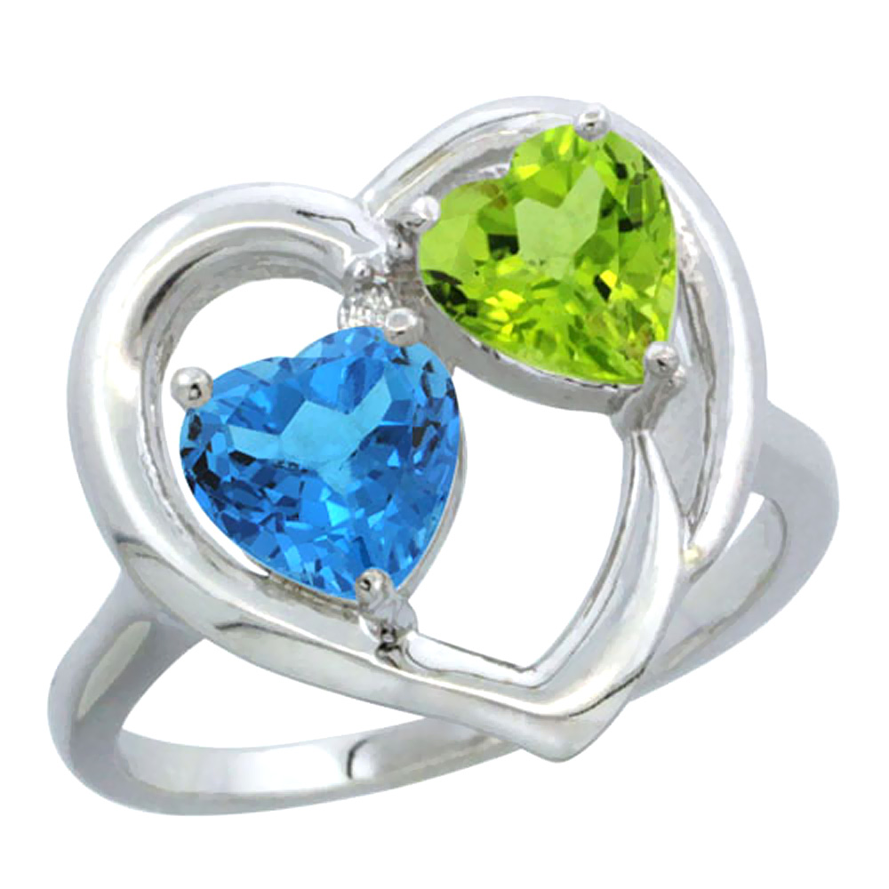 14K White Gold Diamond Two-stone Heart Ring 6mm Natural Swiss Blue Topaz & Peridot, sizes 5-10