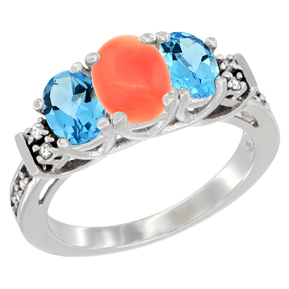 10K White Gold Natural Coral & Swiss Blue Topaz Ring 3-Stone Oval Diamond Accent, sizes 5-10