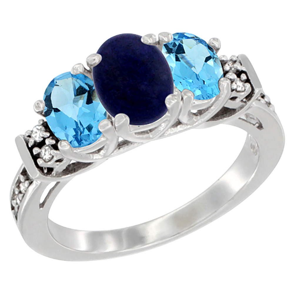 10K White Gold Natural Lapis & Swiss Blue Topaz Ring 3-Stone Oval Diamond Accent, sizes 5-10