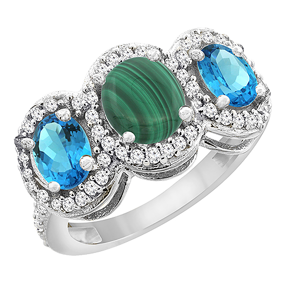 14K White Gold Natural Malachite & Swiss Blue Topaz 3-Stone Ring Oval Diamond Accent, sizes 5 - 10