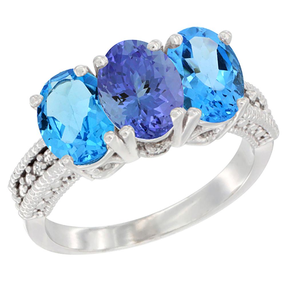 10K White Gold Natural Tanzanite & Swiss Blue Topaz Sides Ring 3-Stone Oval 7x5 mm Diamond Accent, sizes 5 - 10