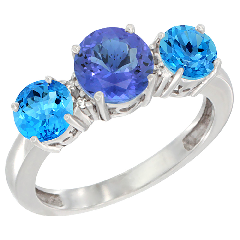 14K White Gold Round 3-Stone Natural Tanzanite Ring & Swiss Blue Topaz Sides Diamond Accent, sizes 5 - 10