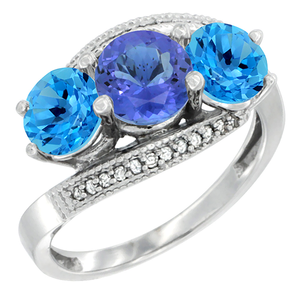14K White Gold Natural Tanzanite & Swiss Blue Topaz Sides 3 stone Ring Round 6mm Diamond Accent, sizes 5 - 10