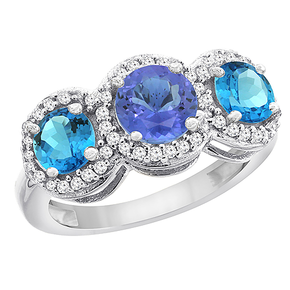 14K White Gold Natural Tanzanite & Swiss Blue Topaz Sides Round 3-stone Ring Diamond Accents, sizes 5 - 10