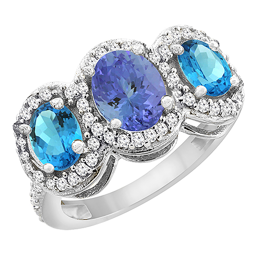 10K White Gold Natural Tanzanite & Swiss Blue Topaz 3-Stone Ring Oval Diamond Accent, sizes 5 - 10