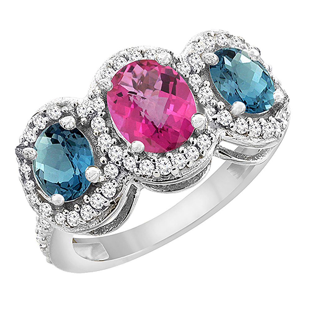 14K White Gold Natural Pink Sapphire & London Blue Topaz 3-Stone Ring Oval Diamond Accent, sizes 5 - 10