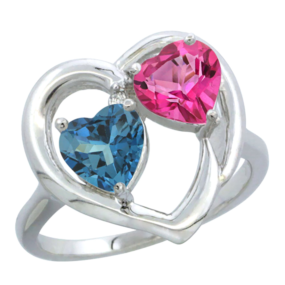 14K White Gold Diamond Two-stone Heart Ring 6mm Natural London Blue Topaz & Pink Topaz, sizes 5-10