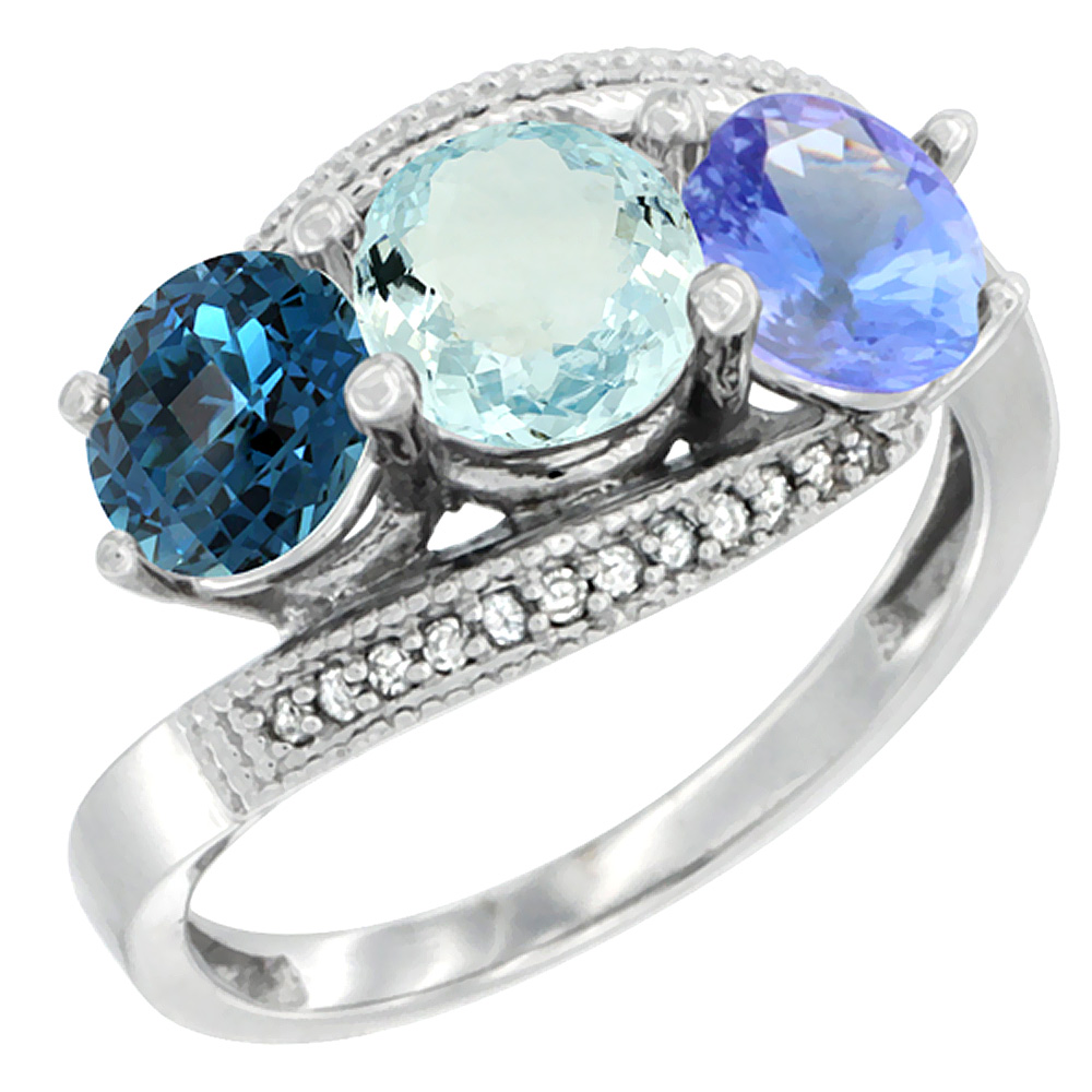 14K White Gold Natural London Blue Topaz, Aquamarine & Tanzanite 3 stone Ring Round 6mm Diamond Accent, sizes 5 - 10