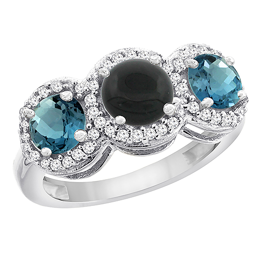 10K White Gold Natural Black Onyx & London Blue Topaz Sides Round 3-stone Ring Diamond Accents, sizes 5 - 10
