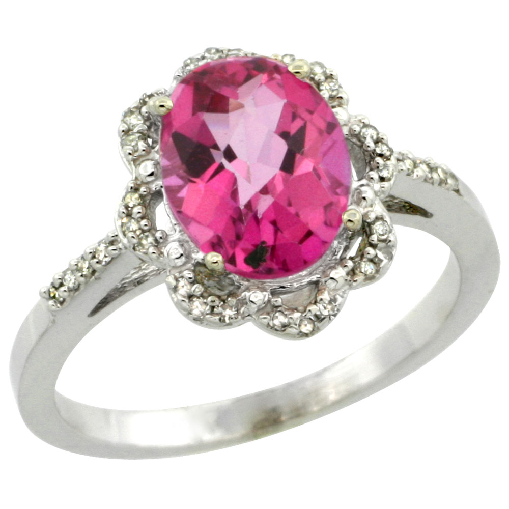 14K White Gold Diamond Halo Natural Pink Topaz Engagement Ring Oval 9x7mm, sizes 5-10