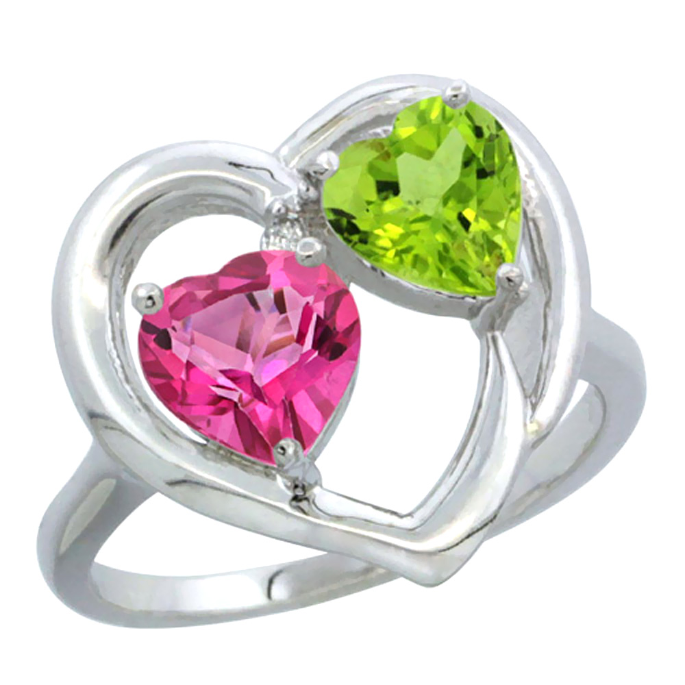 14K White Gold Diamond Two-stone Heart Ring 6 mm Natural Pink Topaz & Citrine, sizes 5-10
