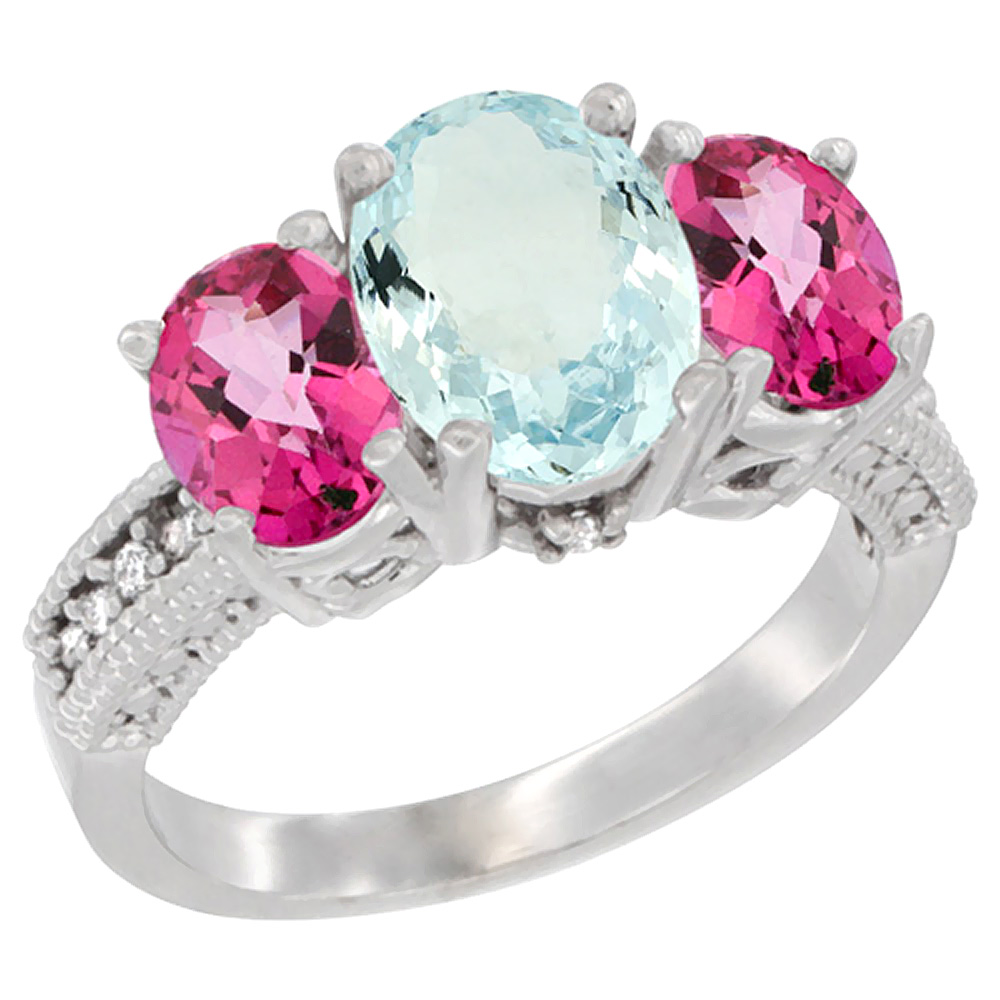 14K White Gold Diamond Natural Aquamarine Ring 3-Stone Oval 8x6mm with Pink Topaz, sizes5-10