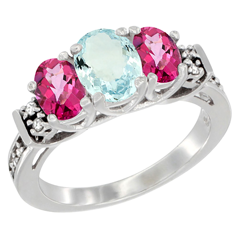 14K White Gold Natural Aquamarine & Pink Topaz Ring 3-Stone Oval Diamond Accent, sizes 5-10