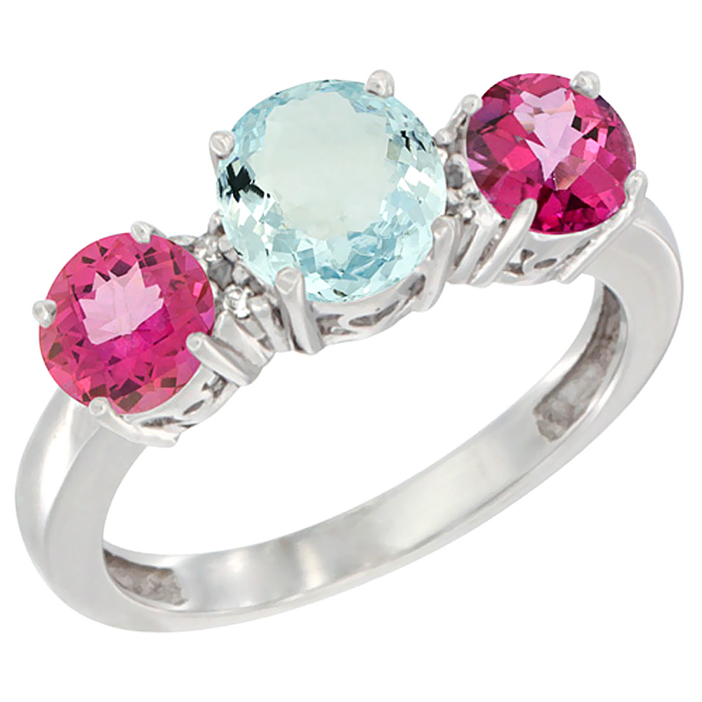 14K White Gold Round 3-Stone Natural Aquamarine Ring & Pink Topaz Sides Diamond Accent, sizes 5 - 10