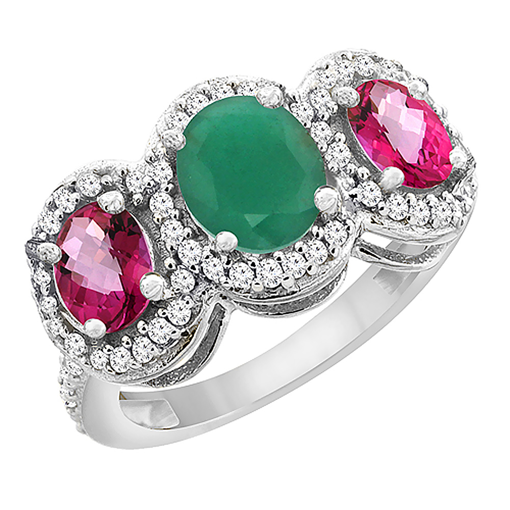 14K White Gold Natural Cabochon Emerald & Pink Topaz 3-Stone Ring Oval Diamond Accent, sizes 5 - 10