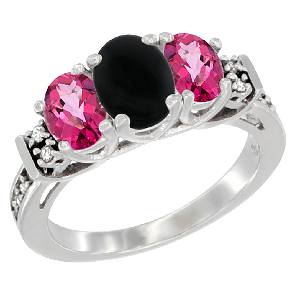 10K White Gold Natural Black Onyx & Pink Topaz Ring 3-Stone Oval Diamond Accent, sizes 5-10