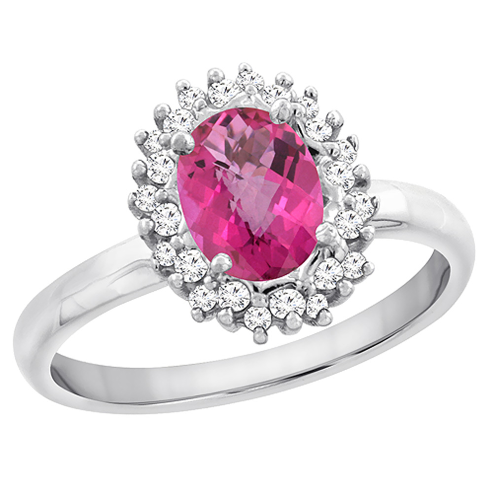 10K White Gold Diamond Natural Pink Sapphire Engagement Ring Oval 7x5mm, sizes 5 - 10