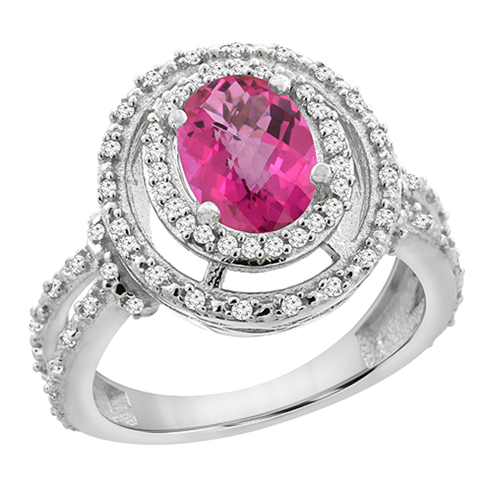 10K White Gold Natural Pink Sapphire Ring Oval 8x6 mm Double Halo Diamond, sizes 5 - 10