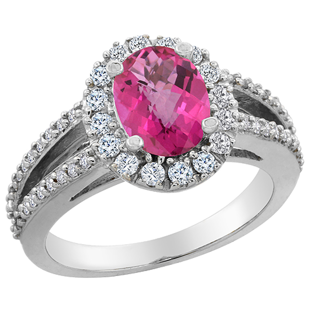10K White Gold Natural Pink Sapphire Halo Ring Oval 8x6 mm with Diamond Accents, sizes 5 - 10