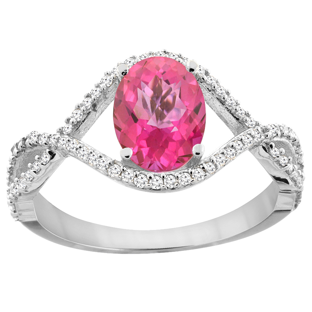 10K White Gold Natural Pink Sapphire Ring Oval 8x6 mm Infinity Diamond Accents, sizes 5 - 10