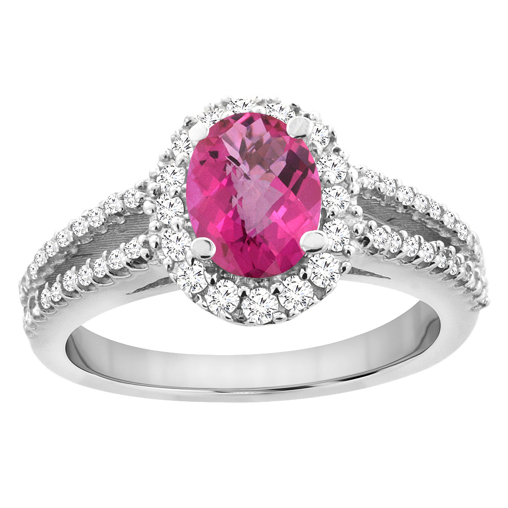 10K White Gold Natural Pink Sapphire Split Shank Halo Engagement Ring Oval 7x5 mm, sizes 5 - 10
