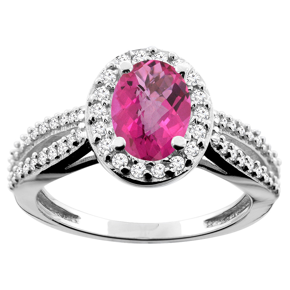 10K White/Yellow/Rose Gold Natural Pink Sapphire Ring Oval 8x6mm Diamond Accent, sizes 5 - 10