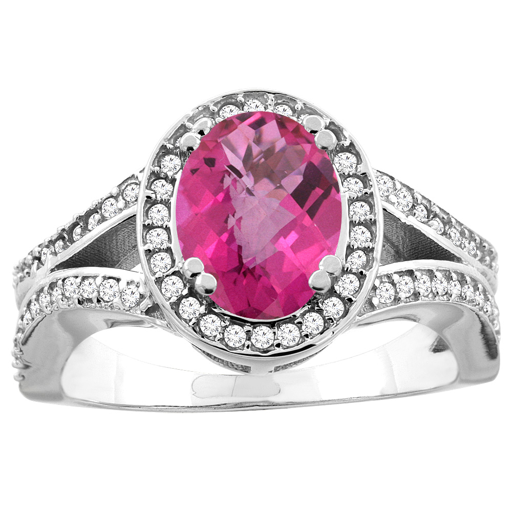 10K White/Yellow Gold Natural Pink Sapphire Split Ring Oval 8x6mm Diamond Accent, sizes 5 - 10