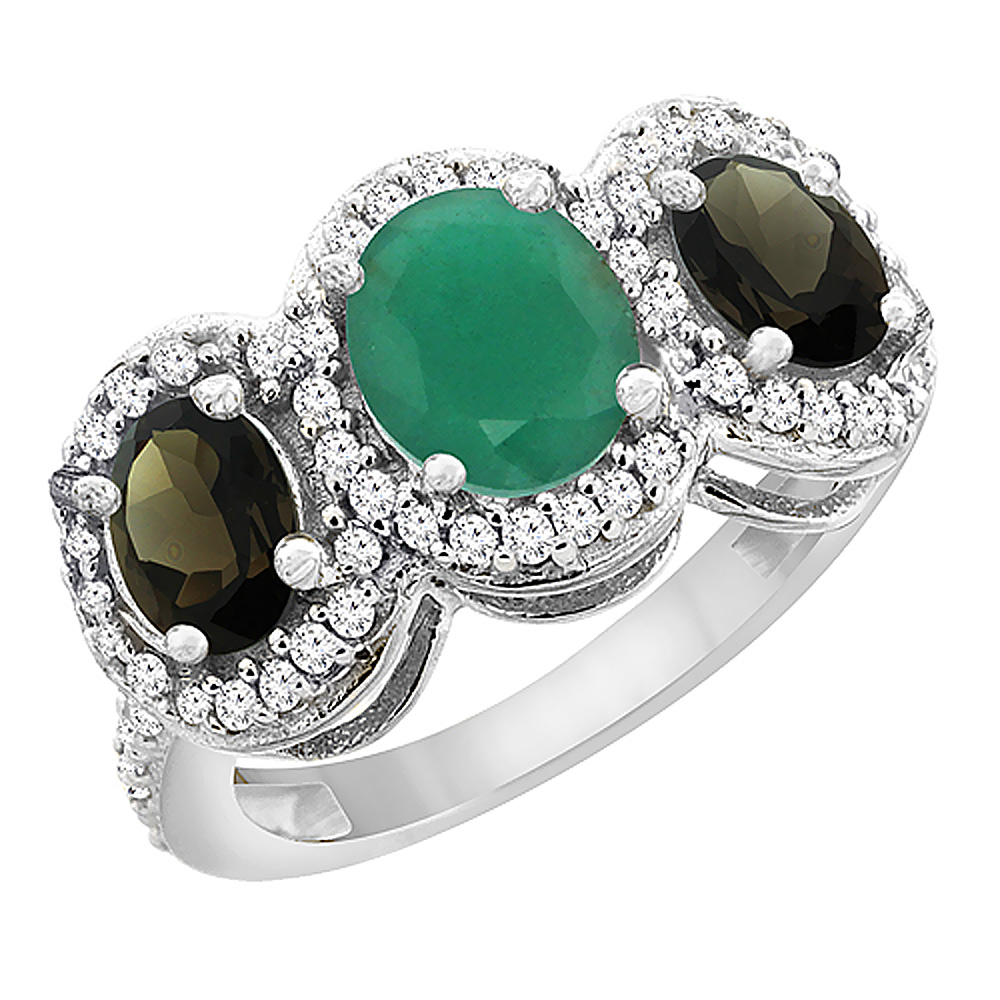 14K White Gold Natural Cabochon Emerald & Smoky Topaz 3-Stone Ring Oval Diamond Accent, sizes 5 - 10