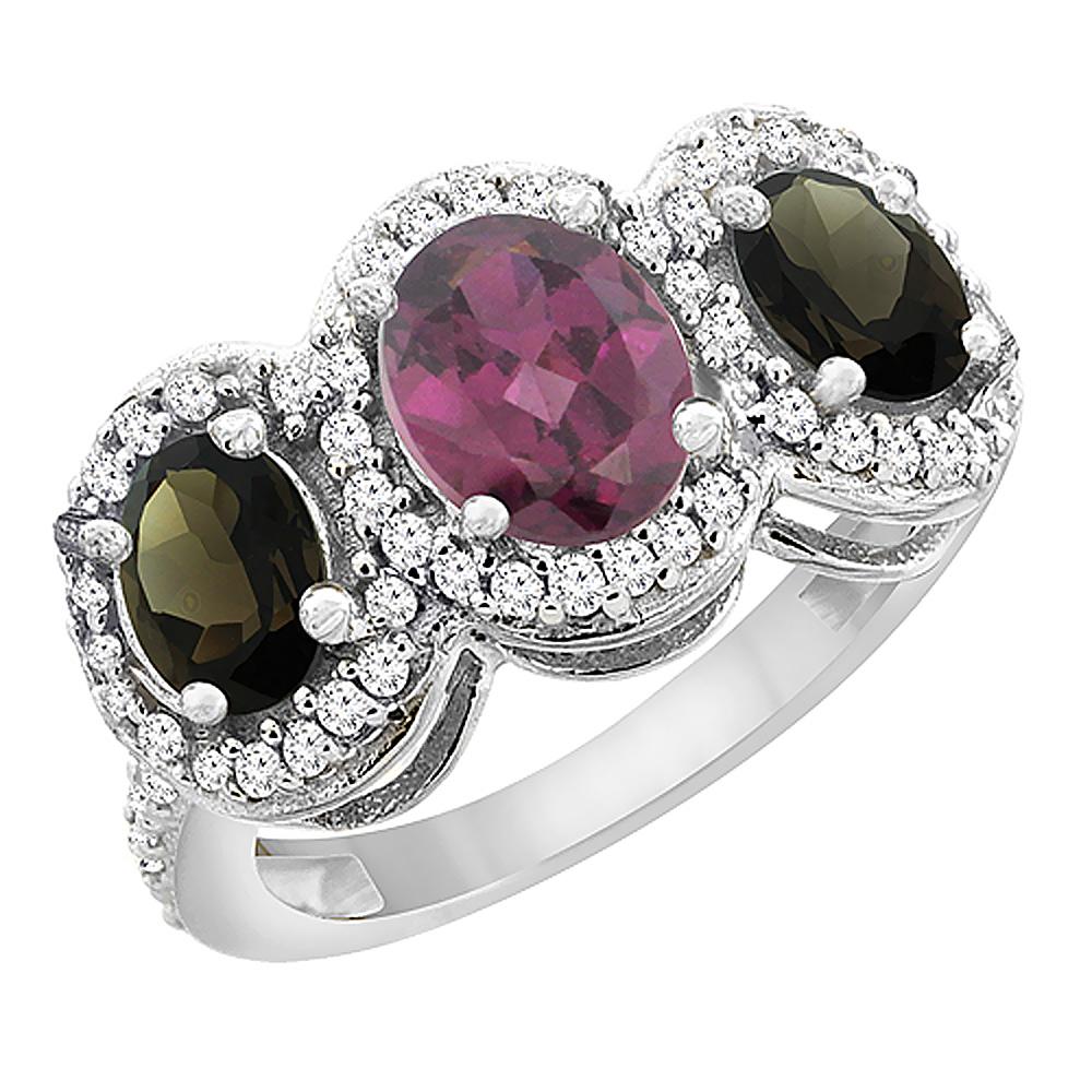10K White Gold Natural Rhodolite & Smoky Topaz 3-Stone Ring Oval Diamond Accent, sizes 5 - 10