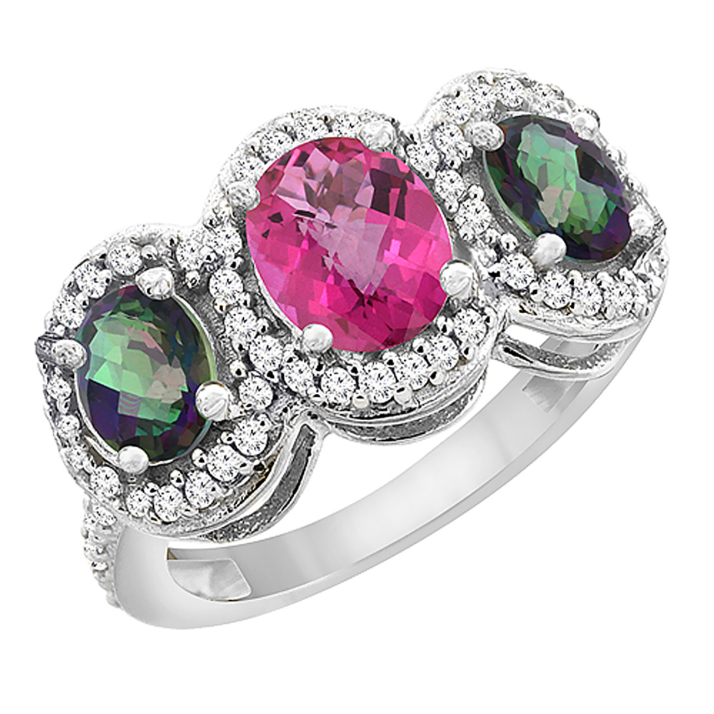 14K White Gold Natural Pink Sapphire & Mystic Topaz 3-Stone Ring Oval Diamond Accent, sizes 5 - 10