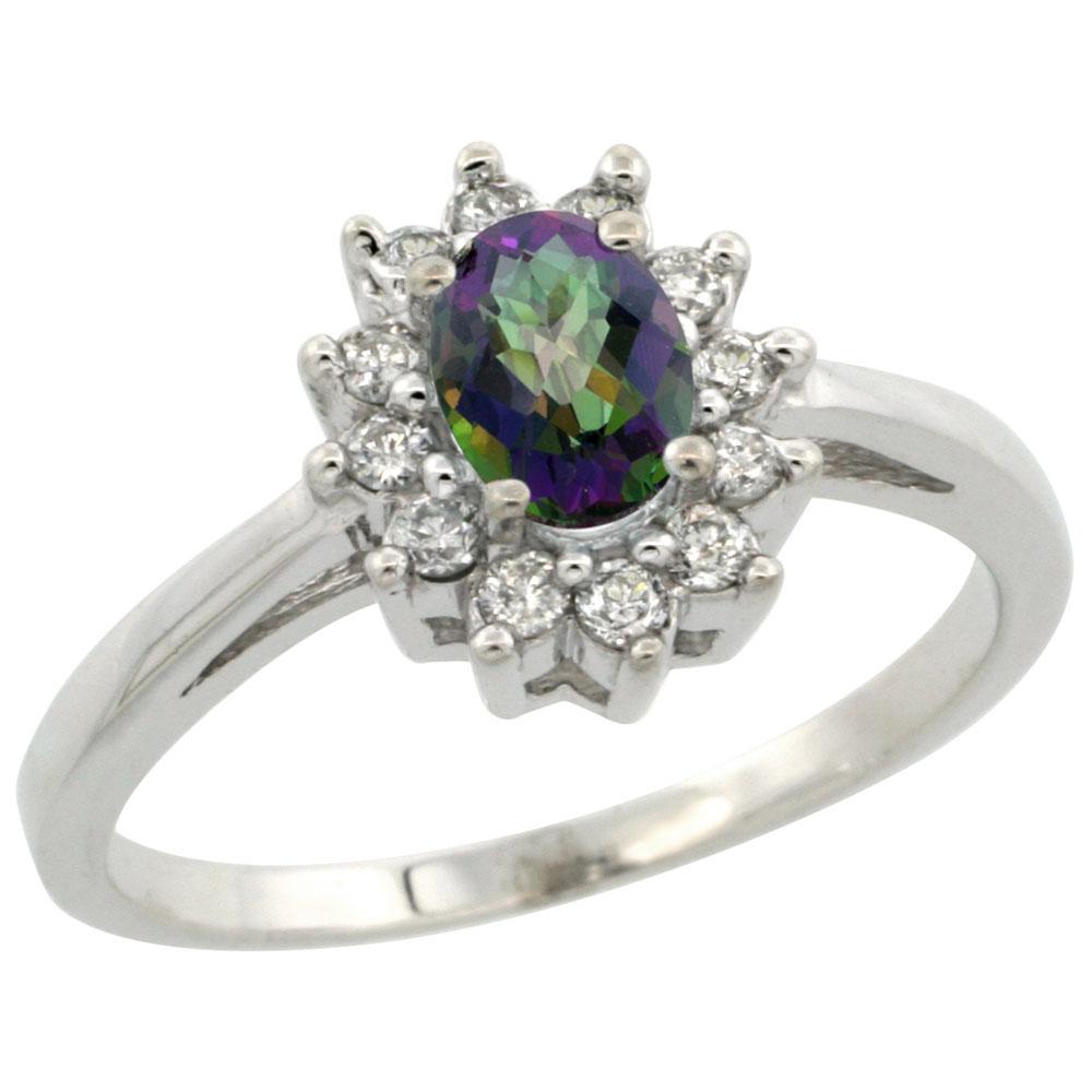 10K White Gold Natural Mystic Topaz Flower Diamond Halo Ring Oval 6x4 mm, sizes 5-10