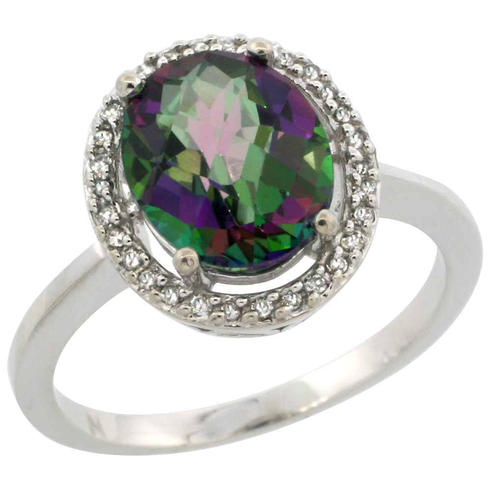 10K White Gold Natural Diamond Halo Mystic Topaz Engagement Ring Oval 10x8 mm, sizes 5-10