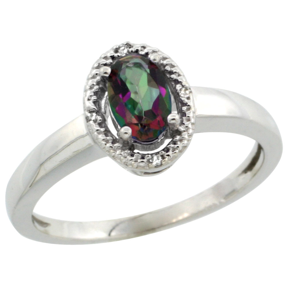 10K White Gold Natural Diamond Halo Mystic Topaz Engagement Ring Oval 6X4 mm, sizes 5-10