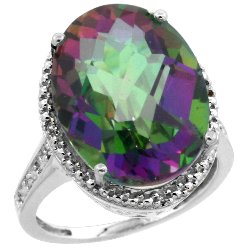 10K White Gold Natural Diamond Mystic Topaz Ring Oval 18x13mm, sizes 5-10