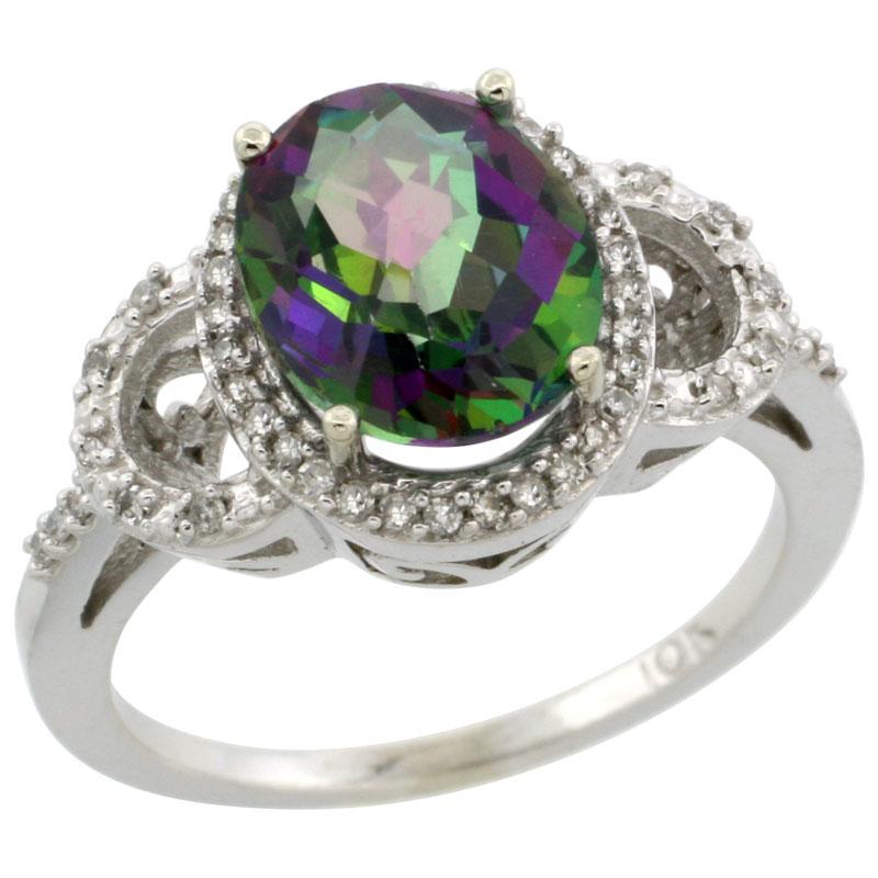 14K White Gold Natural Diamond Mystic Topaz Engagement Ring Oval 10x8mm, sizes 5-10