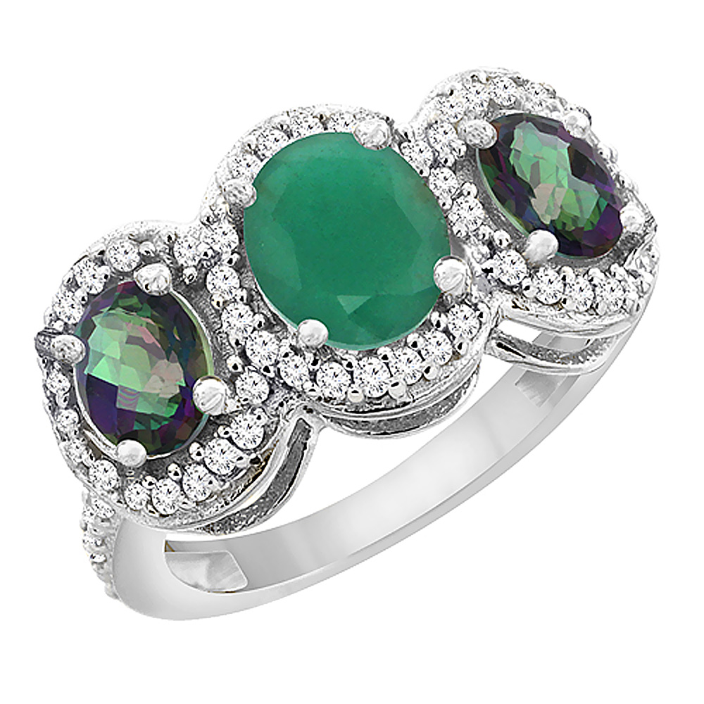14K White Gold Natural Cabochon Emerald & Mystic Topaz 3-Stone Ring Oval Diamond Accent, sizes 5 - 10