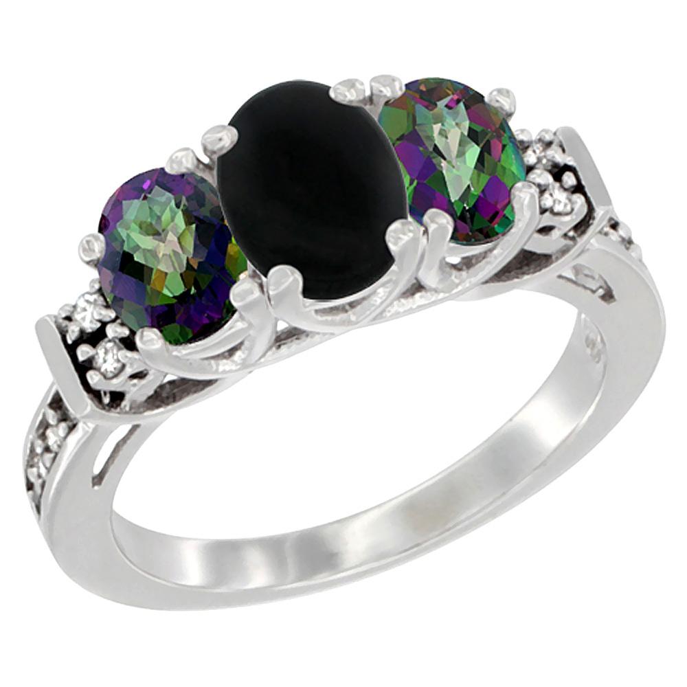 14K White Gold Natural Black Onyx & Mystic Topaz Ring 3-Stone Oval Diamond Accent, sizes 5-10