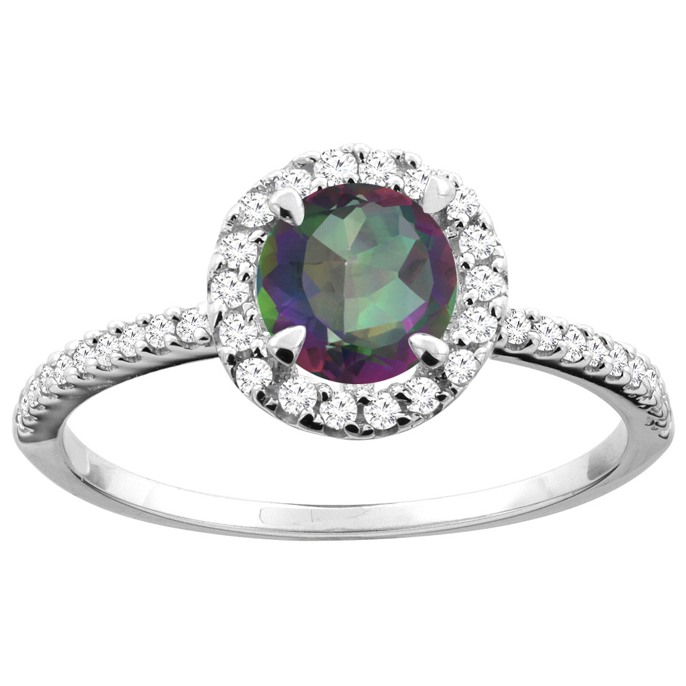 14K Gold Natural Mystic Topaz Ring Round 6mm Diamond Accents, sizes 5 - 10
